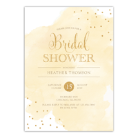 Personalized Wedding Bridal Shower Invitation - Watercolor Confetti - 5 x 7 Flat