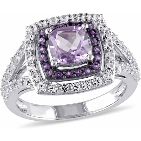 Tangelo 3-4/5 Carat T.G.W. Rose de France with Amethyst and Created White Sapphire Sterling Silver Double Halo Cocktail - Amethyst Double Terminated