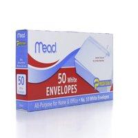 Mead Plain White Self-Seal Business #10 Envelopes, 50 pack