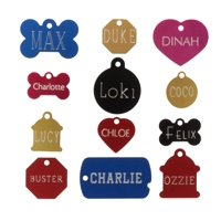 Custom Engraved Pet ID Tags For Your Dog Or Cat, Personalized Front And Back, Up To Four Lines Of Text Per Side, Many Shapes And Colors To Choose From, Small And Large Sizes Suitable For All Pets!