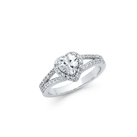Jewels By Lux 925 Sterling Silver Split Shank Heart Cut Halo CZ Cubic Zirconia Engagement Ring Size 5.5