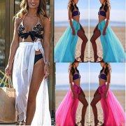 049174b1c0ddf Womens Swim Wear Bikini Cover Up Sheer Beach Mini Wrap Skirt Sarong Pareo  Shorts