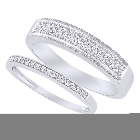 Round Cut White Natural Diamond His and Hers Wedding Band Set in 14K White Gold (0.33 Cttw) By Jewel Zone