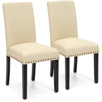 Best Choice Products Set of 2 Upholstered Fabric High Back Parsons Accent Dining Chairs for Dining Room, Kitchen w/ Wood Legs, High Density Foam Padding, Nail Head Stud Trim - Ivory