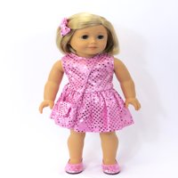 "Pink Sequin Dress with Matching Accessories- Fits 18"" American Girl Dolls, Madame Alexander, Our Generation, etc. - 18 Inch Doll Clothes - Doll Not Included"