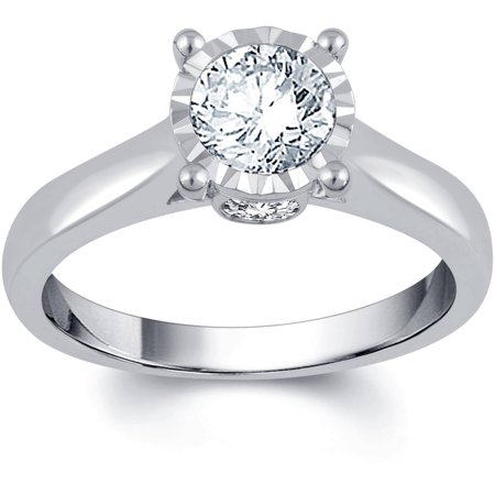 - 1 Carat T.W. IGL Certified Round White Diamond 14kt White Gold Sol Plus Engagement Ring
