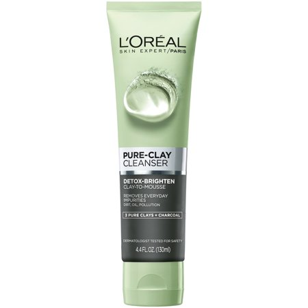 - L'Oreal Paris Pure Clay Cleanser, Detox & Brighten, 4.4 Fl Oz