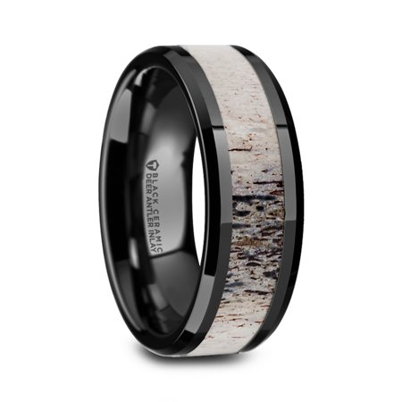 - Tres Beveled Black Ceramic Polished Mens Wedding Band With Ombre Antler Inlay
