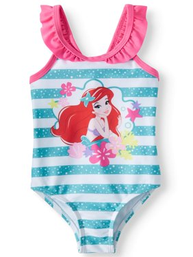 Baby Girls' The Little Mermaid Ruffle Strap One Piece Swimsuit