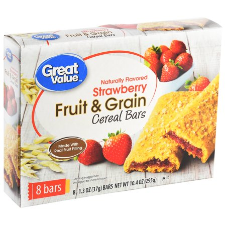 (6 Pack) Great Value Fruit & Grain Cereal Bars, Strawberry, 10.4 oz, 8 Count (118g Bars)