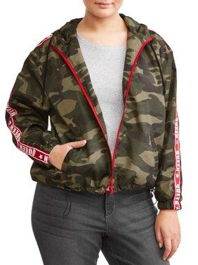 Women's Plus Size Camo Jacket with Hood