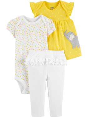 Short Sleeve T-Shirt, Bodysuit, and Pants Outfit Set, 3 pc set (Baby Girls)