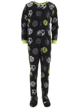 Komar Kids Boys Sports Balls Black Footed Pajamas