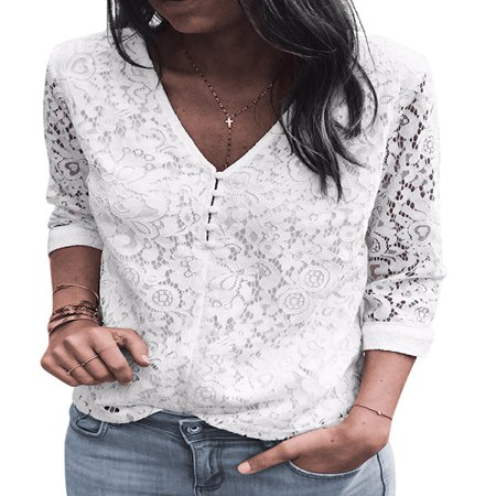 Lace Nylon Blouse - STARVNC Women Two Side Wear 3/4 Sleeve V Neck Hollow Lace Splice Blouse