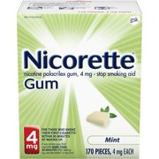 Nicorette Nicotine Gum, Stop Smoking Aid, 4 mg, Mint Flavor, 170 count
