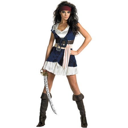 Pirates of the Caribbean Jack Sparrow Sassy Adult Halloween Costume (Pirates Of The Caribbean Jack Sparrow Costume)