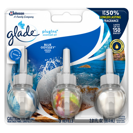 Glade PlugIns Scented Oil Refill Blue Odyssey, Essential Oil Infused Wall Plug In, Up to 50 Days of Continuous Fragrance, 2.01 FL OZ, Pack of