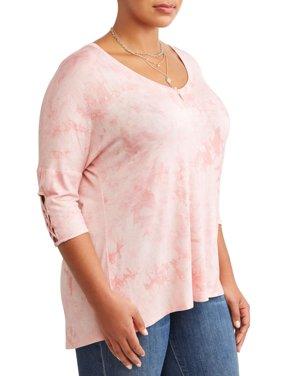 Women's Plus Size Vneck Tye Dye Short Sleeve Tee with Cage Detail