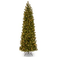 National Tree Pre-Lit 7-1/2' Feel-Real Down Swept Douglas Fir Pencil Slim Hinged Artificial Christmas Tree with 350 Low Voltage Dual LED Lights