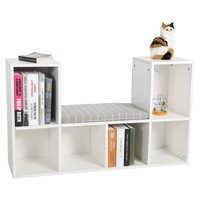 EECOO Multi-functional Wooden Storage Shelf,Bookcase Bookshelf with a comfortable Reading cushion