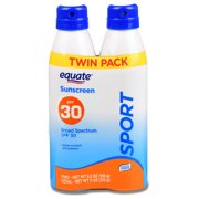 Equate Sport Continuous Spray Sunscreen, Broad Spectrum, SPF 30, Twin Pack, 11 Oz