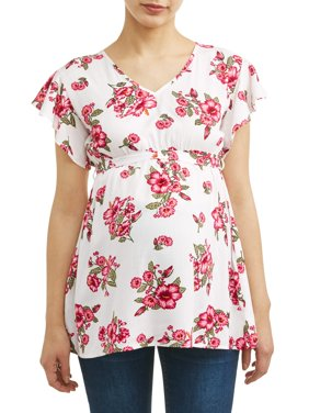 Maternity Floral Ruffle Sleeve Top - Available in Plus Sizes