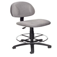 Boss Office & Home Transitional Grey Contoured Comfort Adjustable Rolling Drafting Stool Chair