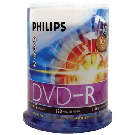 Philips DM4S6B00F-17 16x DVD-Rs 100-ct Cake Box Spindle, 4.7GB - image 1 de 1