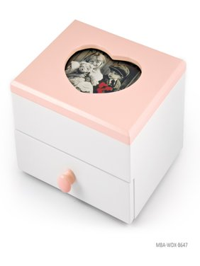 """Adorable 18 Note Matte White with Pink Heart Shaped 5"""" x 3"""" Photo Frame Musical Jewelry Box - Born Free"""