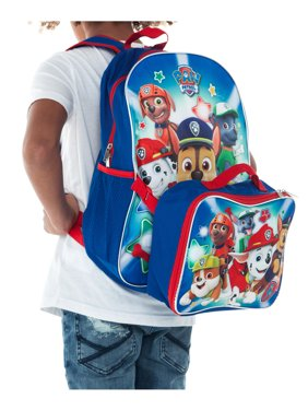 Boys Paw Patrol Large Backpack with Detachable Lunch bag