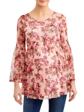 Maternity Floral Bell Sleeve Knit Top with Empire Waist