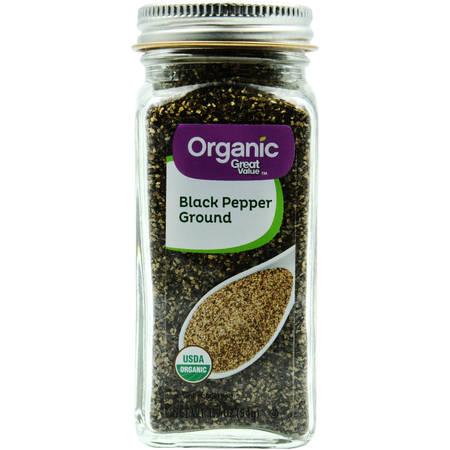 (2 Pack) Great Value Organic Ground Black Pepper, 1.9 oz ()