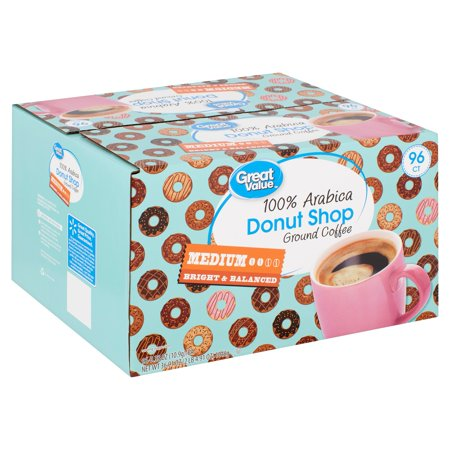 Great Value 100% Arabica Donut Shop Coffee Pods, Medium Roast, 96 Count