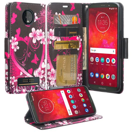 Protective Wallet Case for Motorola Moto Z3 Play Case [Wrist Strap] Cute Girls Women Pu Leather Flip [Kickstand] Phone Case Cover - Hot Pink Hearts