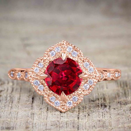 Antique Vintage 1.25 Carat Artdeco Halo Engagement Ring with Real Ruby and Cubic for Her in Silver with Rose Gold - Halo Suit Real Life