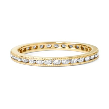 1ct Channel Set Diamond Eternity Ring 14K Yellow Gold (3mm Channel Diamond Eternity Ring)