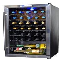 NewAir 33-Bottle Compressor Wine Refrigerator, Stainless Steel and Black