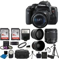 Canon EOS Rebel T6i DSLR CMOS Digital SLR Camera with EF-S 18-55mm f/3.5-5.6 IS STM Lens + 58mm 2x Professional Lens + Wide Angle Lens + Tripod + Flash +UV Kit + Sandisk 32GB Deluxe Accessory Bundle