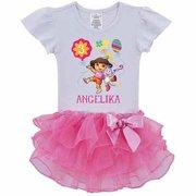 Dora The Explorer Personalized Birthday Balloons Toddler Girl Tutu Tee