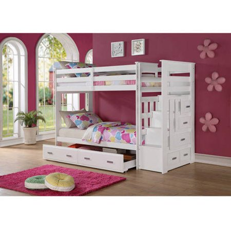 Allentown Twin Over Twin Wood Bunk Bed White Walmart Com
