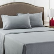 Mainstays Full 200 Thread Count Flat Gray Bed Sheet Set, 1 Each