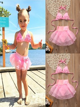 2017 Kids Baby Girls Pink Bikini Suit Set Swimsuit Swimwear Bathing Swimming Clothes