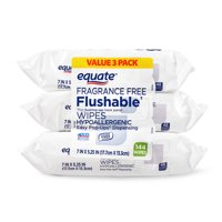 Equate Fragrance-Free Flushable Wipes, 144ct