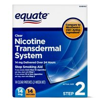 Equate Nicotine Transdermal System Step 2 Clear Patches, 14 mg, 14 Ct