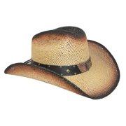 7a8a85353be Men s Straw Long Horn Western Cowboy Hat