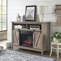 """Better Homes & Gardens Modern Farmhouse Fireplace Credenza for TVs up to 50"""", Rustic Gray Finish"""