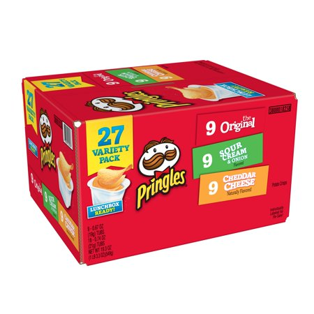Pringles Variety Pack Original, Sour Cream & Onion and Cheddar Cheese Potato Crisps Chips, 19.3 Oz., 27 Count (White Cheddar Tortilla Chip)