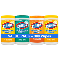 Clorox Disinfecting Wipes (300 Count Value Pack), Bleach Free Cleaning Wipes - 4 Pack - 75 Count Each