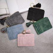 Moderna Faux Leather Mini Tassel Pendant Women Card Holder Coin Purse Keychain Wallet