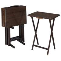 Mainstays 5-Piece Folding TV Tray Table Set in Walnut